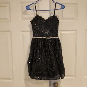 A royal blue sparkling ball dress